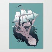 kraken Canvas Prints featuring Kraken by Alex Ray
