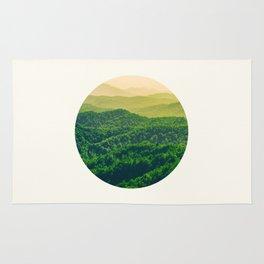 Mid Century Modern Round Circle Photo Graphic Design Lush Green Gradient Rolling Hills Rug