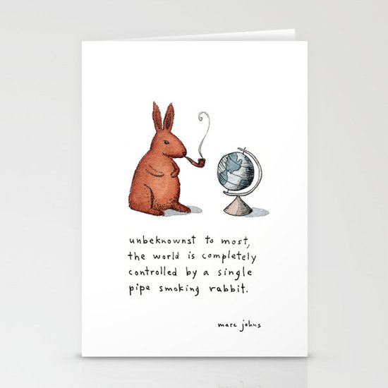 Pipe-smoking rabbit Stationery Cards