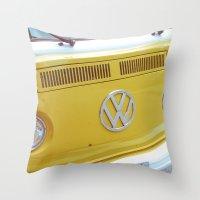 vw bus Throw Pillows featuring Yellow VW Volkswagen Bus Van by Majokko Tay