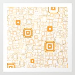 Orange Funky Retro Square Pattern Art Print