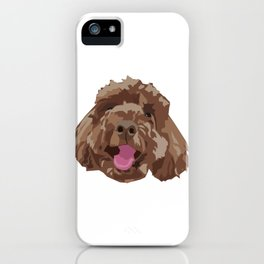 Brown Poodle Happy Dog Face iPhone Case