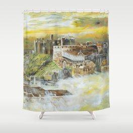 Edinburgh S052 Large impressionism acrylic painting art by artist Ksavera Shower Curtain