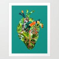 Botanical Heart Green Art Print