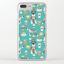 Schnauzer coffee dog breed pet art pure breed cafes pupuccino Clear iPhone Case