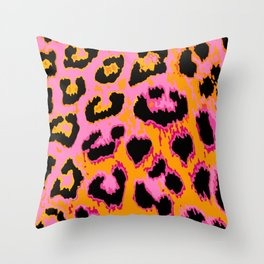 Gold and Pink Leopard Spots Throw Pillow