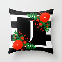 J - Monogram Black and White with Red Flowers Throw Pillow