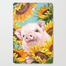 Baby Pig with Sunflowers in Blue Cutting Board