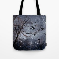 Woodland Crows And Bursting Stars Tote Bag