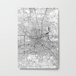 Houston White Map Metal Print