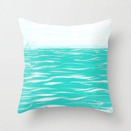 Sailing Across A Turquoise Sea Throw Pillow
