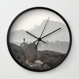 A Silhouette in the Monochromatic Boulders of India Wall Clock