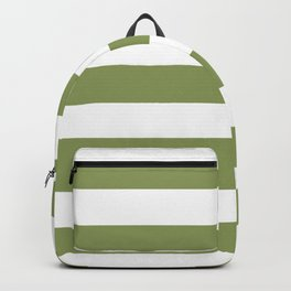 Turtle green -  solid color - white stripes pattern Backpack