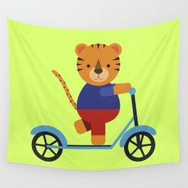Tiger on Scooter Wall Tapestry