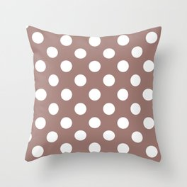 Burnished brown - violet - White Polka Dots - Pois Pattern Throw Pillow