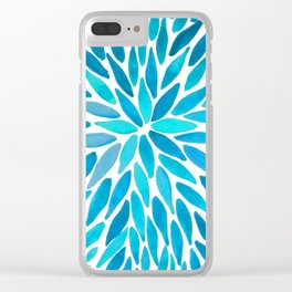 Firework Leaves : Blue Clear iPhone Case