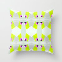 polygon Throw Pillows featuring Polygon Neon by ARTDROID