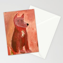 Solitary Red Dogs Stationery Cards