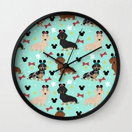 dachshund theme park vacation dogs Wall Clock