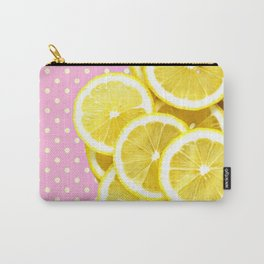 Candy Pink and Lemon Polka Dots Carry-All Pouch