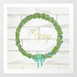 Merry gold and blue boxwood Christmas wreath Art Print