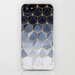 Blue gold hexagonal pattern iPhone Case