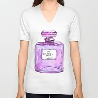 perfume V-neck T-shirts featuring perfume purple by watercolor & ink