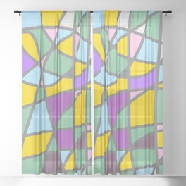 Stain Glass Abstract Meditation Easter Painting Sheer Curtain