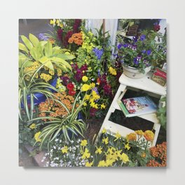 Always good to have a few flowers around the kitchen! Metal Print