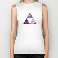 triforce Biker Tanks featuring Cosmic Triforce by Spooky Dooky