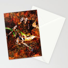 """""""On Fire"""" Freestyle Motocross Rider Stationery Cards"""