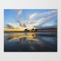 calendars Canvas Prints featuring Sunset ~ Huntington Beach Pier CA  11/7/13 by John Minar Fine Art Photography