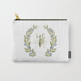 Praying Mantis Botanical in Olive Branches Carry-All Pouch