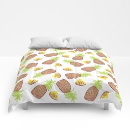 Hand Painted Watercolor Tropical Pineapples Comforters