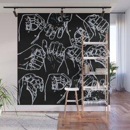 Black White Hands Wall Mural