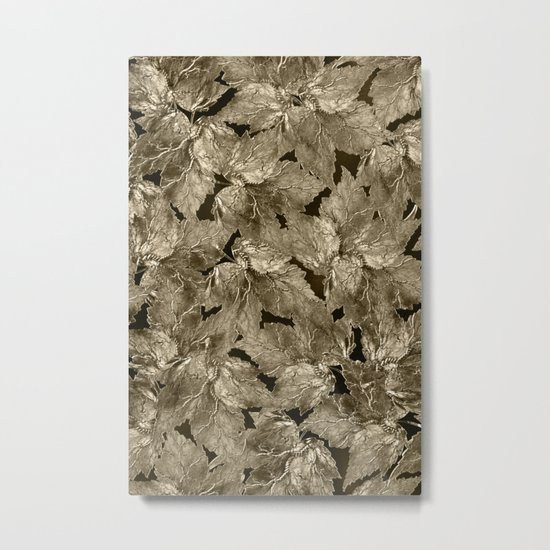 Autumn Leaves - sepia Metal Print