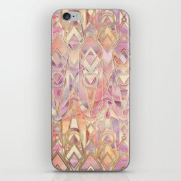 Glowing Coral and Amethyst Art Deco Pattern iPhone Skin