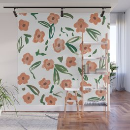 Live Simply Floral Pattern Wall Mural
