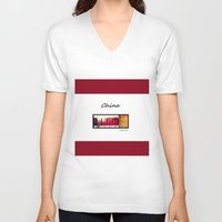 china V-neck T-shirts featuring China by Luciano Bove