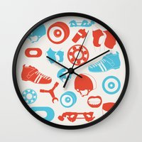 roller derby Wall Clocks featuring Roller Derby by RhiannonHeeley