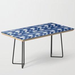 Indigo Geometric Shibori Pattern - Blue Chevrons on White Coffee Table