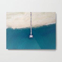 Minimalist Blue Turquoise Waters Meet White Sandy Beach Metal Print