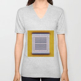 single closed white Window on a yellow old wall Unisex V-Neck