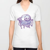 skeletor V-neck T-shirts featuring Cheeseburger Skeletor by Philip Tseng