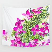 singapore Wall Tapestries featuring Singapore Orchids by marlene holdsworth