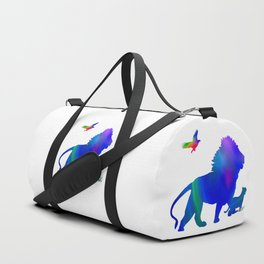 Lion and baby lion taking a stroll Duffle Bag