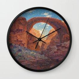 Rainbow Bridge, Glen Canyon, Utah Landscape Painting by William R. Leigh Wall Clock
