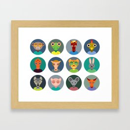 Chinese zodiac collection, Set of animals faces circle icons in Trendy Flat Style Framed Art Print