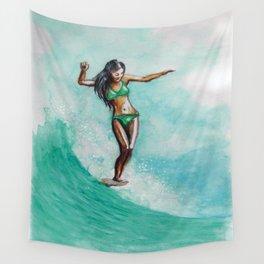 Surfer Girl Wall Tapestry