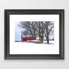 Red Barn in Winter with Hay Bales Framed Art Print